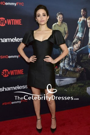 Emmy Rossum Little Black Dress With Cap Sleeves Emmy For Your Consideration Event