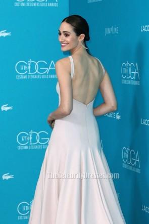 Emmy Rossumエミー・ロッサム セクシーな長い背中の開いたイブニングウエディングドレス第17回コスチュームデザイナー組合賞