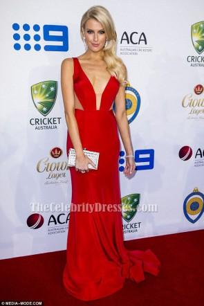エリンオランダ赤セクシーなイブニングドレスウエディングドレス2015アラン国境メダル