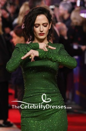 Eva Green Sequined Bodycon Cocktail Dress With Long Sleeves European premiere of 'Dumbo' TCD8362
