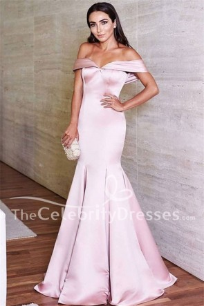 Elegant Pink Off-the-Shoulder Evening Pageant Dresses Prom Gown TCDFD7733