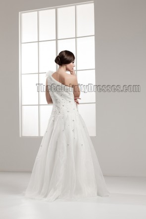 Floor Length A-Line One Shoulder Wedding Dress With Beading