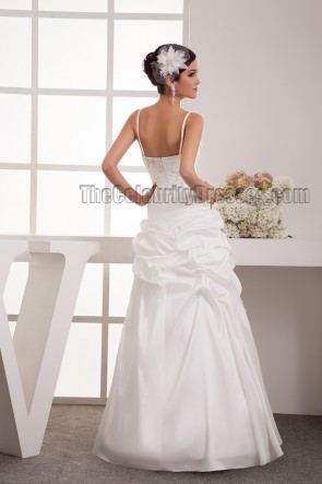 Floor Length A-Line Spaghetti Straps Embroidered Wedding Dress