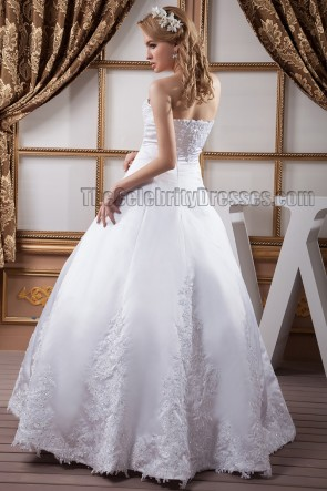 Floor Length A-Line Strapless Sweetheart Beaded Wedding Dresses