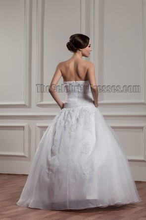 Floor Length Ball Gown Strapless Embroidered Beaded Wedding Dress