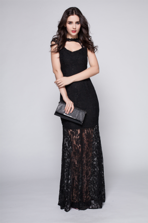 Floor Length Black Lace Cut Out Prom Gown Evening Dress TCDBF099