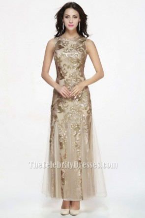 Floor Length Champagne Sequined Sleeveless Formal Dress Evening Gowns