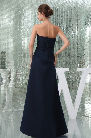 Floor Length Dark Navy Strapless Bridesmaid Prom Dresses