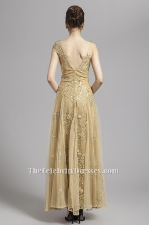 Floor Length Gold Tulle Prom Dress Backless Evening Gown TCDBF052