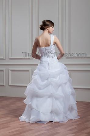 Floor Length One Shoulder Embroidered Organza Wedding Dress