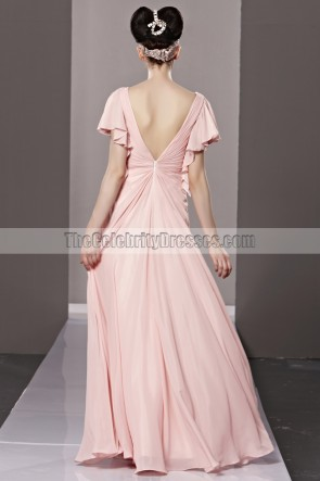 Floor Length Pink Low Cut Formal Dress Evening Prom Gown