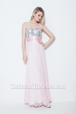 Floor Length Pink Strapless Lace Prom Gown Evening Dress