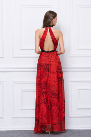Floor Length Red Cut Out Backless Print Evening Prom Dresses TCDBF457