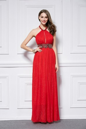 Floor Length Red Halter Backless Sexy Evening Dress Prom Gown TCDBF443