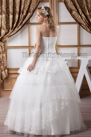 Floor Length Strapless A-Line Wedding Dress Bridal Gown