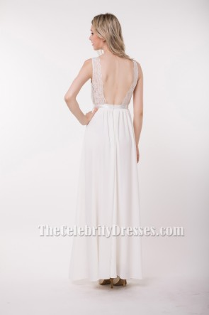 Floor Length White Lace Backless Prom Evening Gowns
