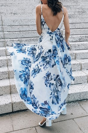 Floral Print V-neck Backless Dress