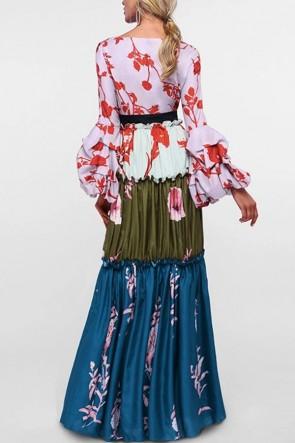 Floral V-neck Ruffled Lantern Sleeves A-line Dress