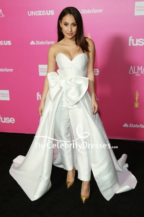 Francia Raisa White Strapless Jumpsuit With Bow ALMAs 2018