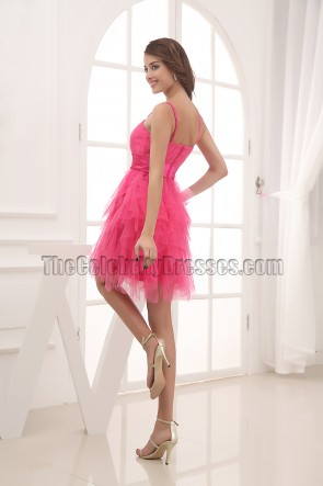 Fuchsia Short Tulle Party Homecoming Graduation Dresses