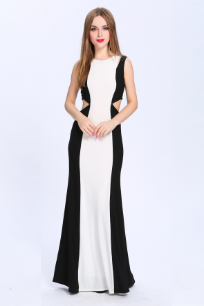 Full Length Black And White Cut Out Formal Dress Evening Gown