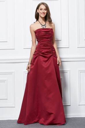 Full Length Burgundy Strapless Lace Up Formal Dress Prom Gown TCDBF438