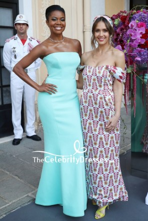 Gabrielle Union Mint Strapless Prom Dress 2019 Monte Carlo TV Festival