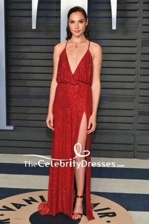 Gal Gadot Burgundy Sequins Spaghetti Strap Evening Dress 2018 Oscars After Party