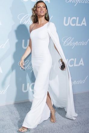 Gisele Bundchen White One-shoulder Evening Dress 2019 Hollywood Science Gala