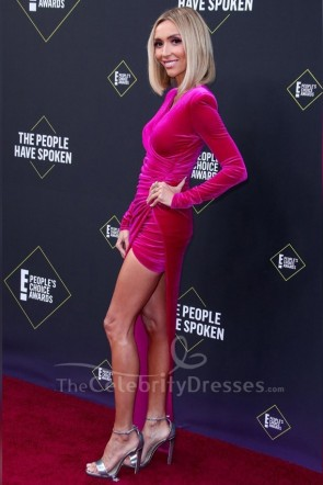 Giuliana Rancic Fuchsia Prom Dress 2019 E! People's Choice Awards TCD8767