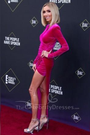 Giuliana Rancic Fuchsia Prom Dress 2019 E! People's Choice Awards TCD8767