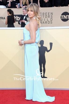 ゴールディホーンライトスカイブルーワンショルダーイブニングウエディングドレス2018 SAG賞レッドカーペット