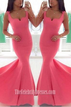 ゴージャスなピンクの人魚のウェディングドレスのイブニングドレス