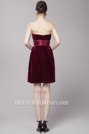 Gorgeous Burgundy Strapless Sweetheart Velvet Party Dresses