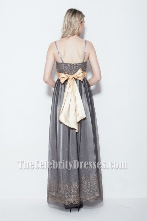 Gorgeous Gray Floor Length Prom Gown Evening Dress With Beading