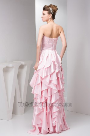 Pink Ruffles Strapless A-Line Prom Dress Evening Gown
