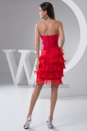 Red Strapless Ruffles Cocktail Graduation Party Dress