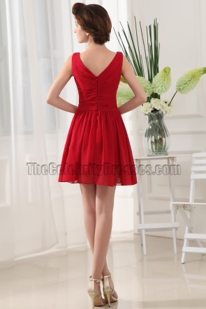 New Style Red V-neck Party Cocktail Homecoming Dresses