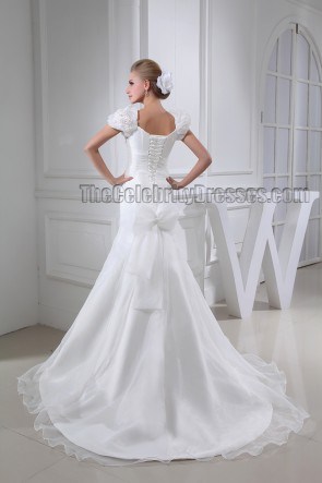 Gorgeous Trumpet /Mermaid Cap Sleeve Chapel Train Wedding Dresses