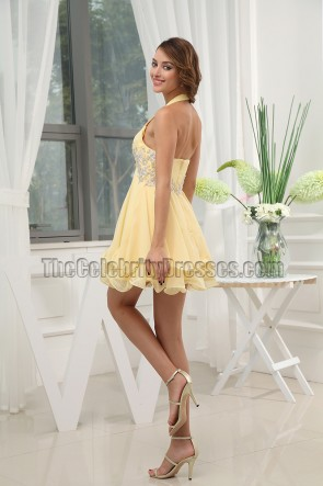 Gorgeous Yellow Short Halter Party Dress Cocktail Dresses