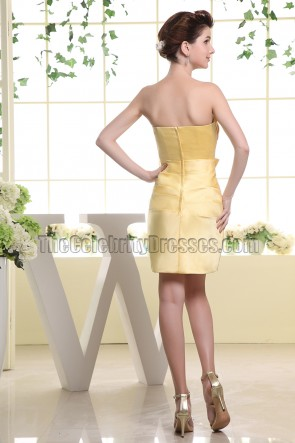 Strapless Yellow Short Party Dress Homecoming Bridesmaid Dresses