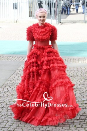 Grace Chatto Red Ruffled Princess Dress With Sleeves Commonwealth Day 2019