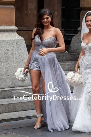 Grey Strapless Beaded High Low Bridesmaid Dress Sweet Heart Prom Dress