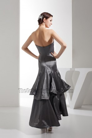 Gray Strapless Satin Bridesmaid Prom Gown Evening Dresses