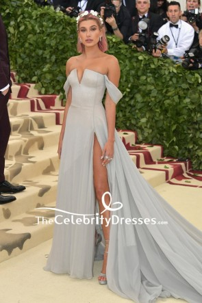 Hailey Baldwin Grey Backless Off-the-shoulder Thigh-high Slit Evening Dress 2018 Met Gala Red Carpet