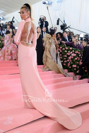 Hailey Bieber Blushing Pink Backless Dress Met Gala 2019 Carpet  TCD8741