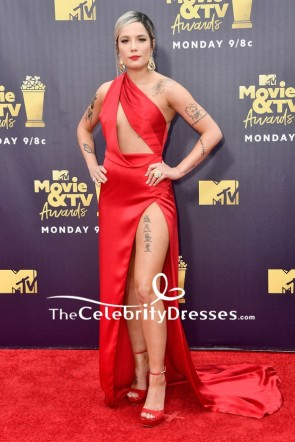 Halsey Red Cut Out Formal Evening Dress 2018 MTV Movie & TV Award