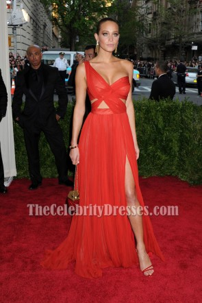 Hannah Davis Costume Institute Benefit Met Gala 2015 Red One Shoulder Backless Slit Evening Dress