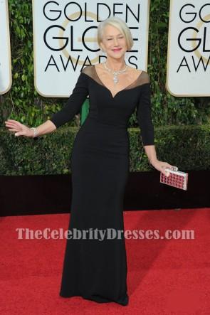 ヘレン・ミレン2016ゴールデングローブレッドカーペットブラックイブニングドレスVネックウエディングドレス