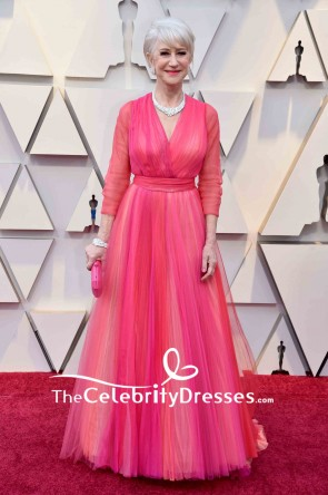 Helen Mirren A-line Ruffled Long Sleeves V-neck Evening Dress Oscar 2019